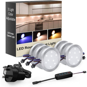 LED Under Cabinet Lights Kit, 3 Colours Adjustable, 1080LM Dimmable Puck Lights, Warm/Neutral White, UV Black Light Under Counter Light, 12V Closet Lighting