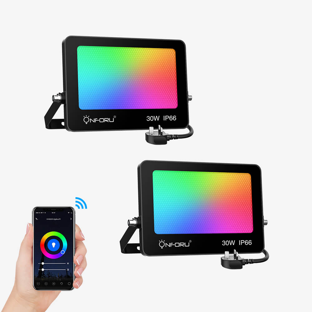 30W Smart RGB Floodlights 2 pack, WiFi Colour Changing LED Flood Light Compatible with Alexa, App Control Colored Lights with Music Synchronization, IP66 Waterproof