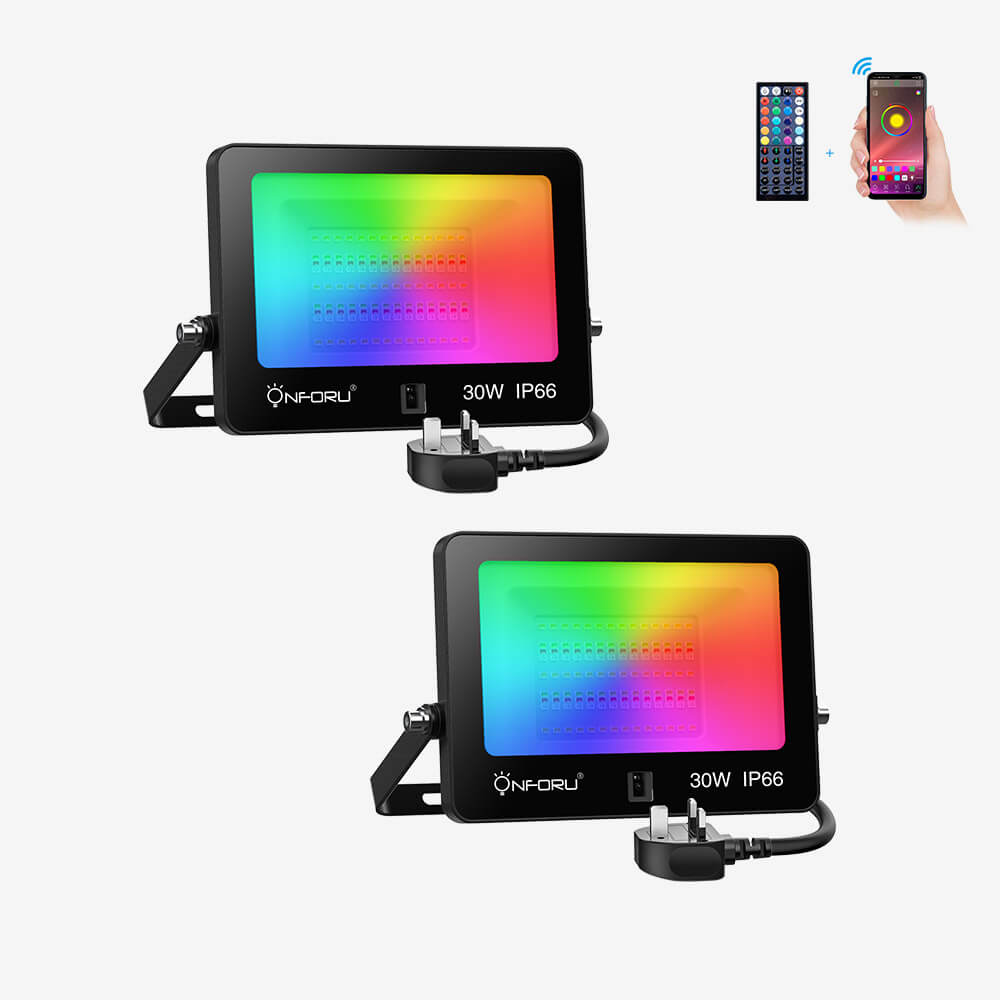 30W RGB Bluetooth LED Floodlights 2 pack, App Control, Remote, Music Synchronization, Timing, 2700K Warm White, IP66 Waterproof