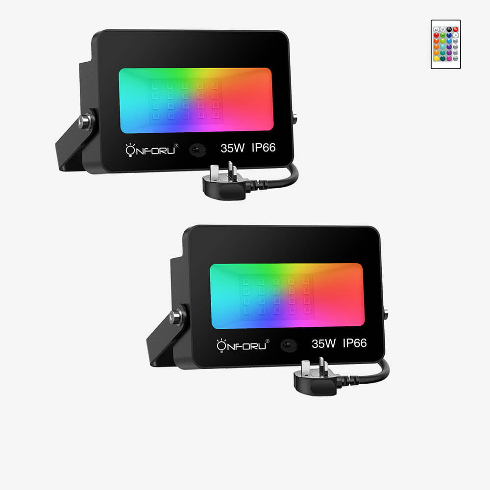 35W LED RGB Floodlights with Remote Control, IP66 Waterproof Dimmable Decorative Coloured Flood Light, 16 Colours 4 Modes