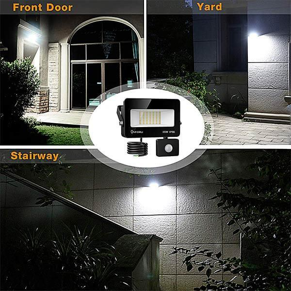 Security Lights with Motion Sensor 5000K Daylight White, IP66 Waterproof