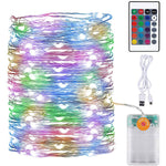 10M Colour Fairy String Lights, Battery Operated Twinkle Lights with Remote and Timer, IP67 Waterproof Outdoor RGB Firefly Copper Wire Lights USB Powered
