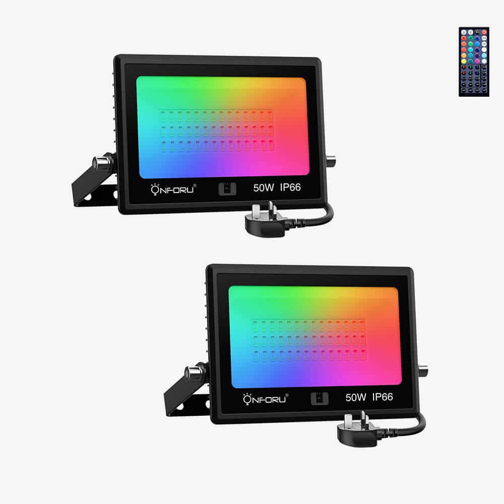 50W LED Colour Floodlight 2 Pack, Dimmable DIY RGB Floodlight with 44Keys Remote Control, IP66 Waterproof