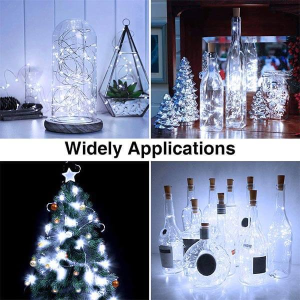 2 Meters Wine Bottle Lights, IP67 Waterproof Cork Lights, Battery Operated with Cork String Lights for DIY Party Christmas Bottle Decor, Cool White Light