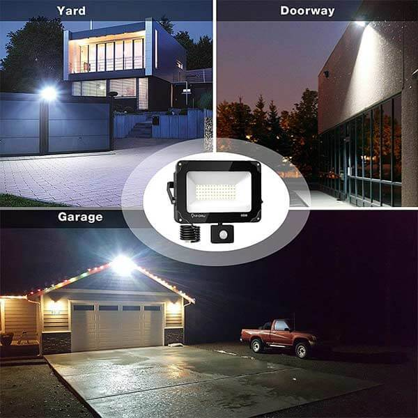 35W LED Security Lights with Motion Sensor, IP66 Waterproof Outdoor Flood Light, 5000K Daylight White Bright PIR Floodlights