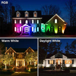 30W LED RGBW Floodlight, IP66 Waterproof Dimmable Daylight/Warm/Neutral White Flood Lights,14 Colours 2 Modes with Remote Control