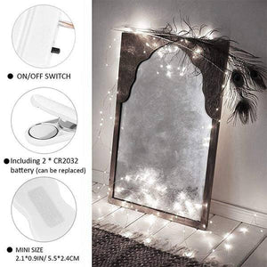 3 Meters 30 LED String Lights, Cool White Waterproof Fairy Copper Lights, 10ft Battery Operated Firefly Starry Wire Lights for DIY