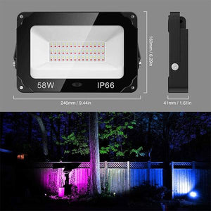 58W LED RGB Flood Lights 2 Pack, 11 Colours 2 Modes with Remote Control, IP66 Waterproof Dimmable Decorative Floodlight