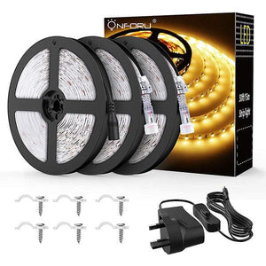 15M 50ft LED Strip Lights Kits, 3000K Warm White Strip Lighting, IP65 Waterproof Light Strip, 12V Power Supply with Switch