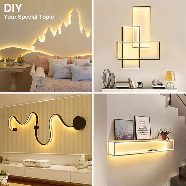 5M LED Strip Lights Kits, 12V LED Ribbon with Power Adapter, 300 2835 LEDs, 3000K Warm White Mirror Lights