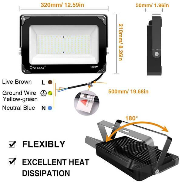 100W LED Flood Light 2 Pack IP66 Waterproof Super Bright Security Lights, Outdoor Floodlight for Yard