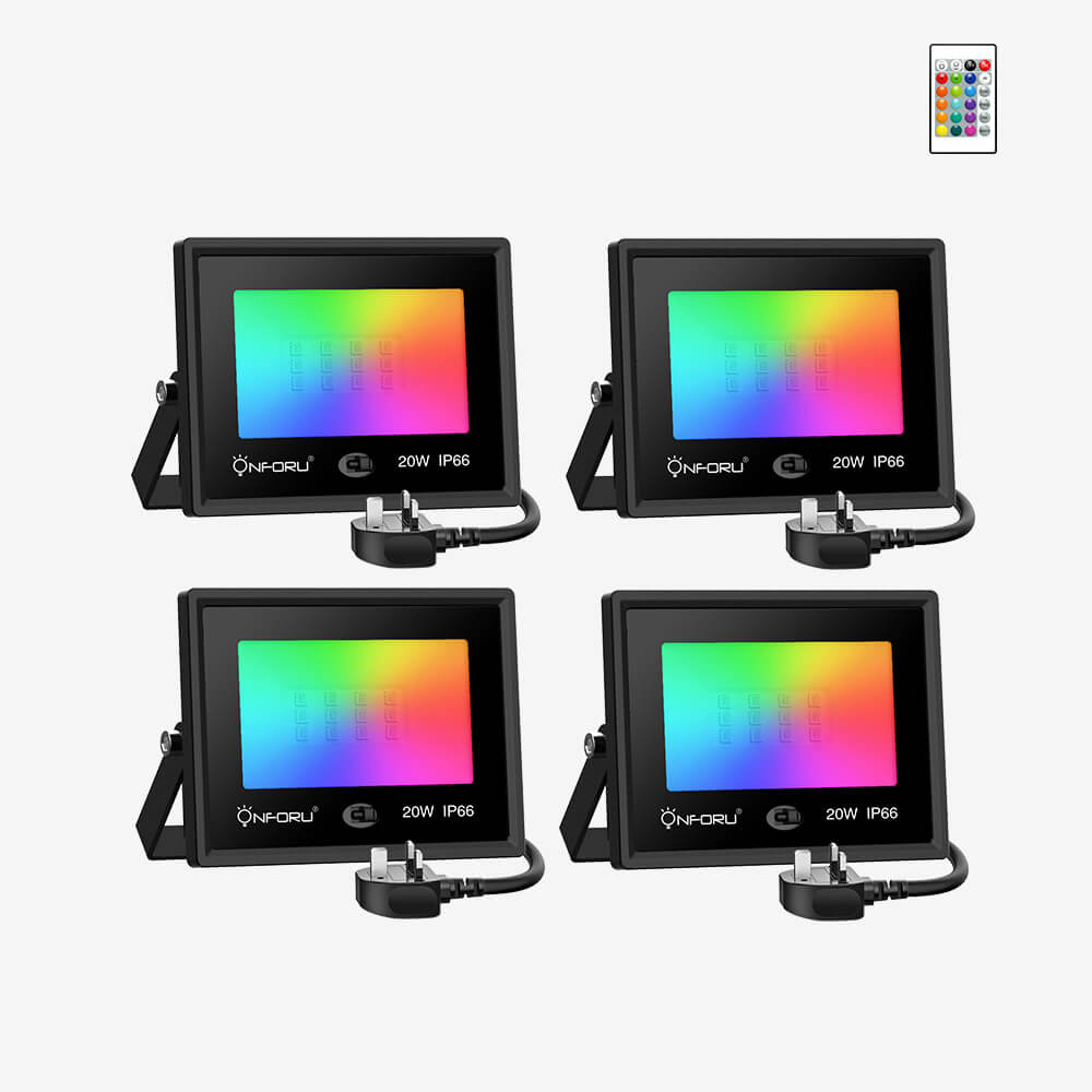 LED RGB Floodlights with Remote Control, IP66 Waterproof Dimmable Decorative Coloured Flood Light