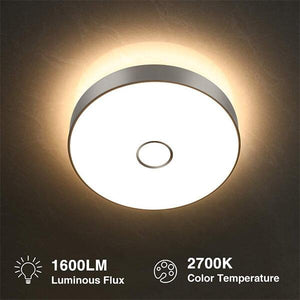 18W Flush Ceiling Light 1600LM, 2700K Warm White Ceiling Mounted Light, CRI 90, Outdoor Ceiling Lamp for Bathroom, Bedroom