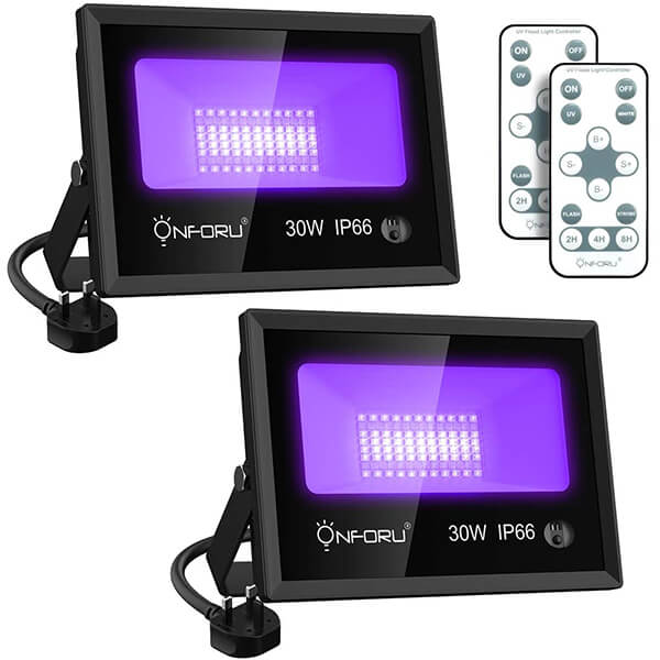 30W UV LED Black Light 2 Pack, 6000K Daylight White, UV Floodlight with Remote and Timing, IP66 Waterproof