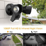 3000lm LED Security Camera, 1080P HD WiFi Outdoor Floodlight, 30W Siren Alarm Wall Light with PIR Motion Sensor