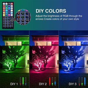 30W RGB LED Floodlights 2 pack, App Control Colour Changing Flood Light with Remote, Music Synchronization, Timing, 2700K Warm White, IP66 Waterproof