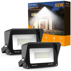 60W LED Flood Light with Light Shield 2 Pack, 5000K Daylight White, IP66 Waterproof Outdoor Landscape Floodlight