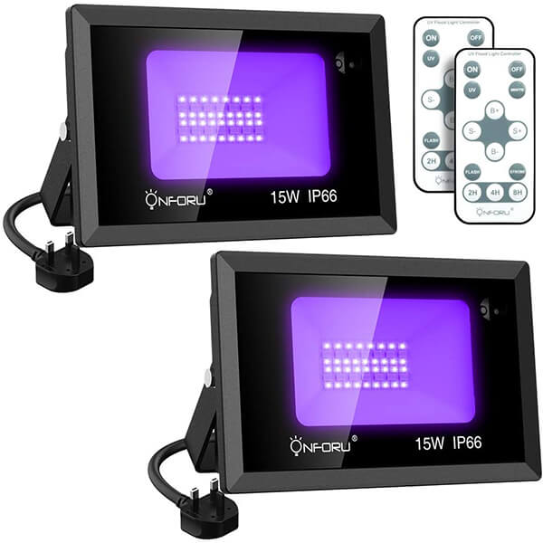 15W LED UV Black Light 2 Pack, UV Floodlight with Remote, Daylight White, Timing, IP66 Waterproof
