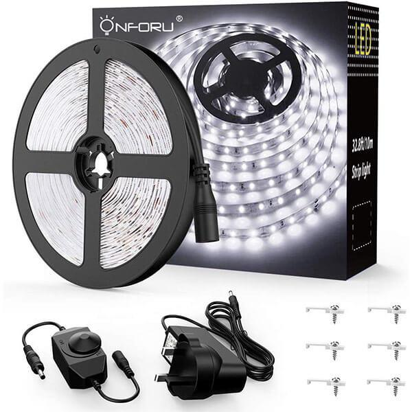 10M 33ft Dimmable LED Strip Lights Kit, 600 2835 LEDs, 12V Under Cabinet Lighting Strips, LED Ribbon, Non-Waterproof Tape, 5000K Daylight White