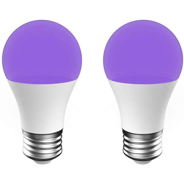 7W UV LED Bulb 2 Pack, Black Light Bulb with E27 Base, UVA Level 385-400NM, Ultraviolet Fluorescent Lamp for Party