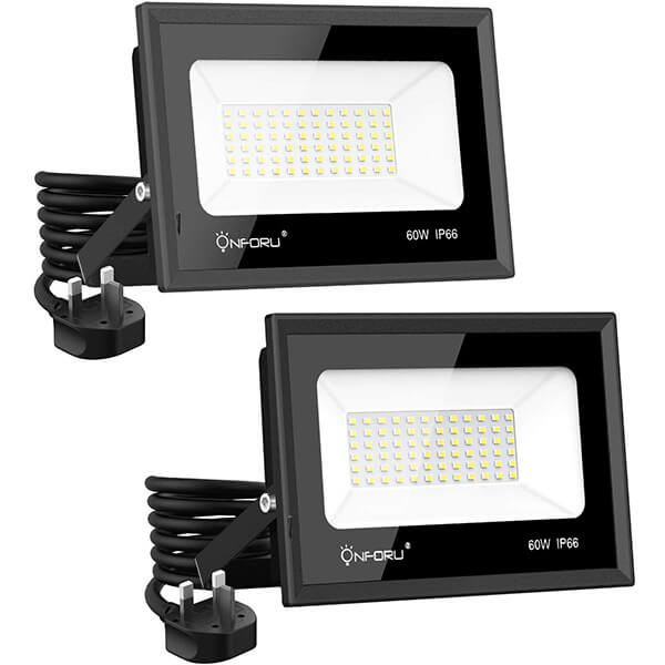 60W LED Plug-in Flood Lights 2 Pack, IP66 Waterproof Floodlight, 5000K Daylight White Work Light for Garden, Garages