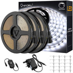 15M LED Strip Lights Dimmable, 6000K Cool White Lighting Strips, 450 LEDs Tape Lights, LED Ribbon with 12V Power Supply