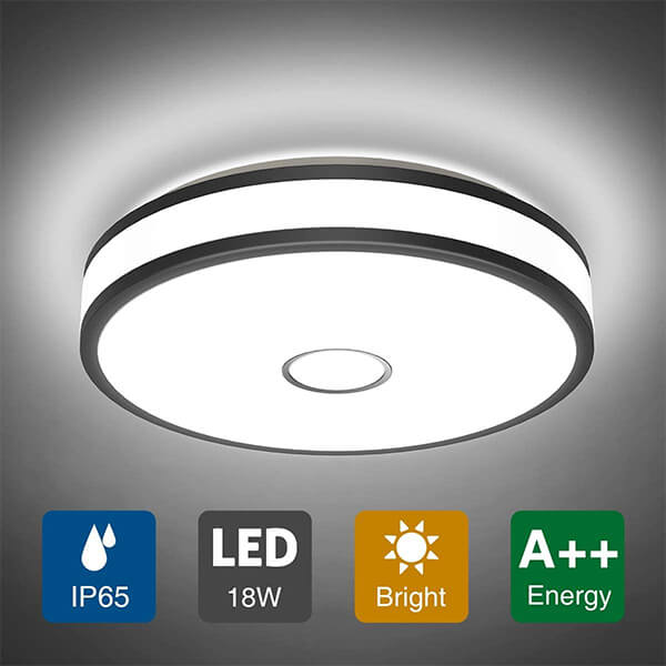 18W LED Round Ceiling Light, 1600LM IP65 Waterproof, CRI 90, 5000K Daylight White Ceiling Lamp with Flush Mount