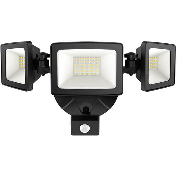 50W 5000lm Outdoor PIR Lights, IP65 Waterproof 3 Heads Adjustable Exterior Floodlight, 5000K Daylight White Wall Lights