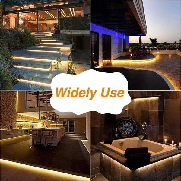 15M 50ft LED Strip Lights Kits, IP65 Waterproof Light Strip, 12V Power Supply with Switch