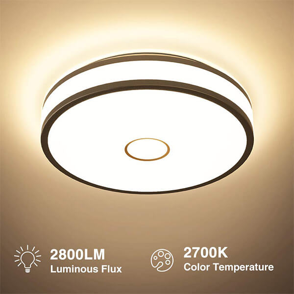 32w LED Round Ceiling Light, CRI 90 2700K Warm White Outdoor Ceiling Lamp