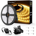 10M Dimmable LED Strip Lights Kit, 600 Units 2835 LEDs, 12V Under Cabinet Lighting Strips, LED Ribbon, Non-Waterproof Tape, 3000K Warm White