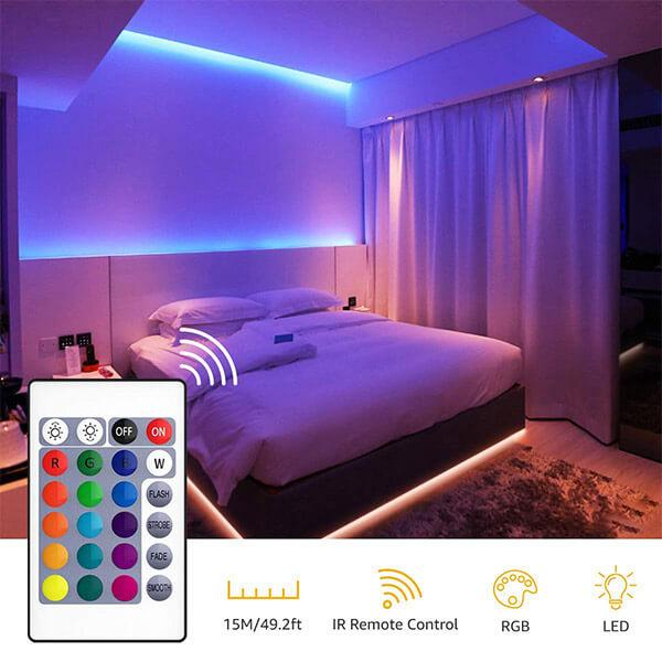 15m RGB LED Strip Lights Kit,50ft Flexible Colour Changing Lights Strip, 450 Units 5050 RGB LED Rope Light with 24V Power Supply, multi-color Tape Light for Party