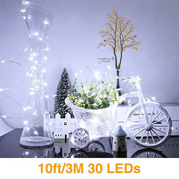 3 meters LED String Lights16 Pack, 30 LED IP67 Waterproof Copper Fairy Lights Battery Operated, Cool White