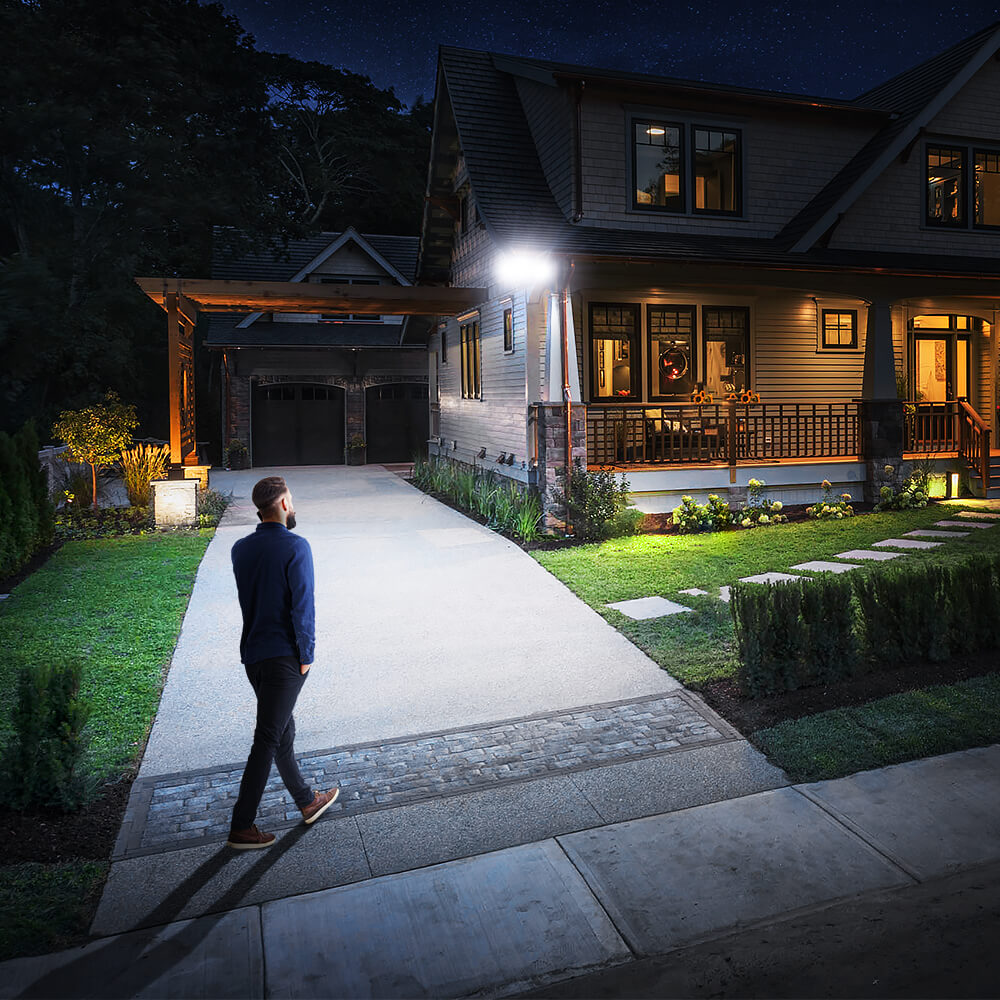 30W Outdoor LED Spotlights Twin Lights Adjustable with Motion Sensor