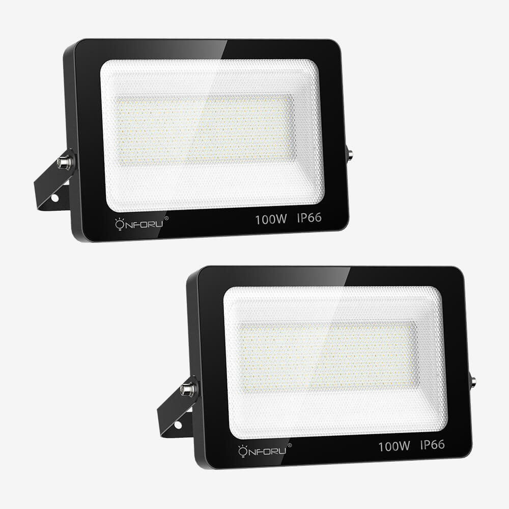100W LED FloodLight 2 Pack, 10000lm Super Bright Flood Light, IP66 Waterproof Outdoor Security Lights