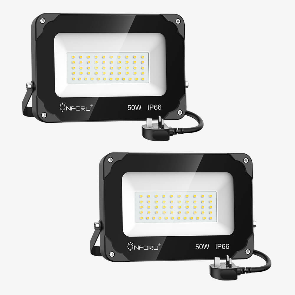 50W LED Floodlights 2 Pack, 5000lm Super Bright Security Lights with Plug, IP66 Waterproof Outdoor Flood Lights
