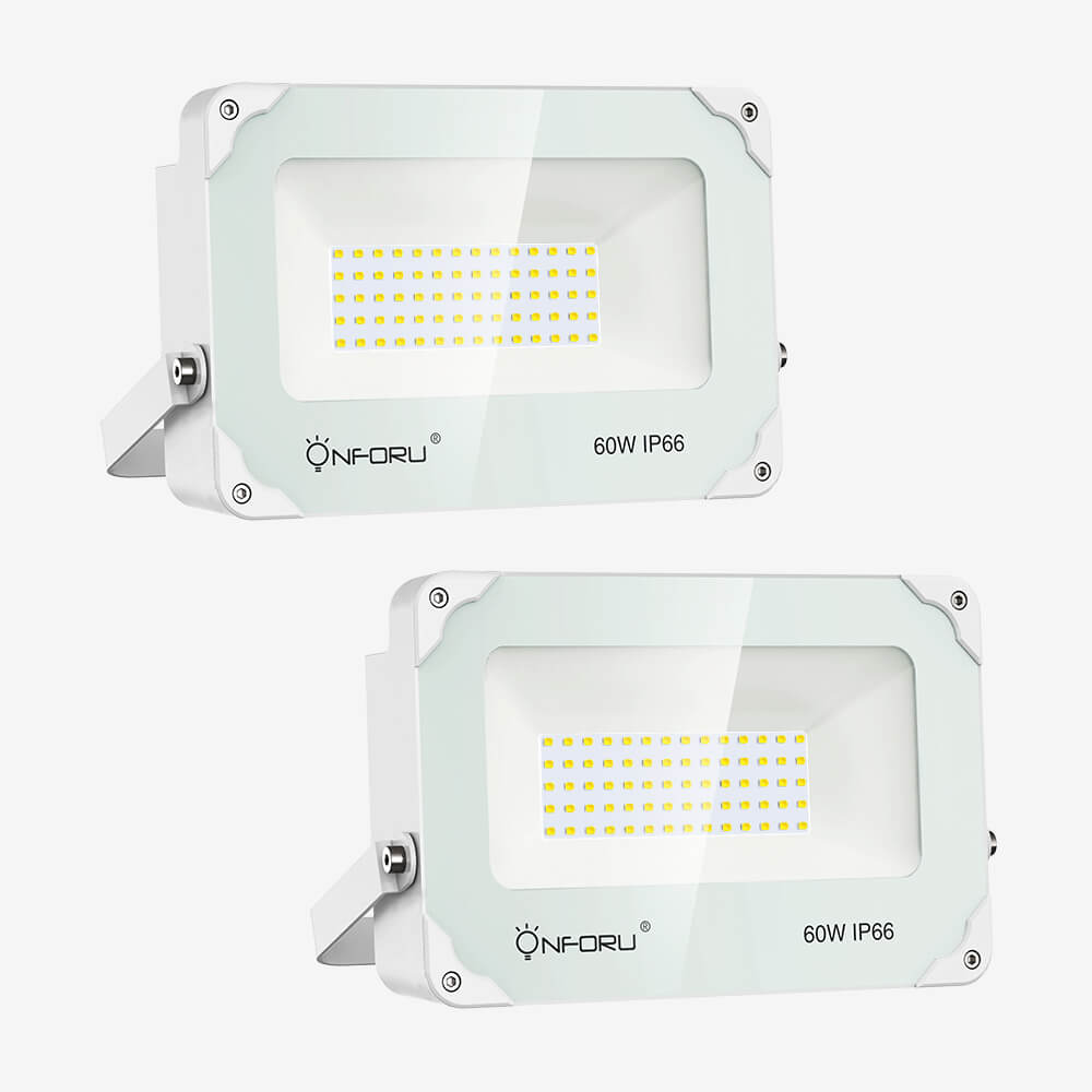 60W LED Floodlights 2 Pack IP66 Waterproof, 6000lm Outdoor Landscape Flood Light