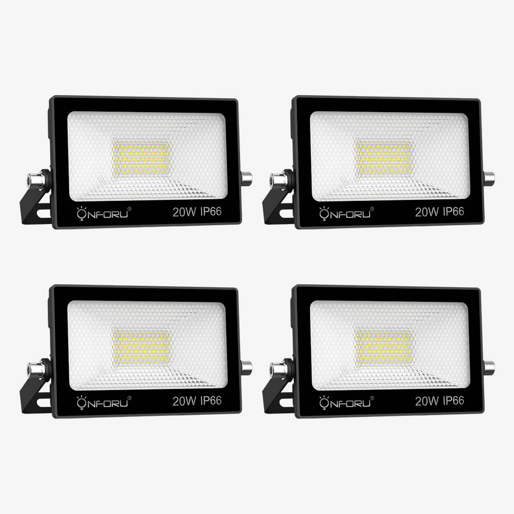 20W LED Floodlight Outdoor 4 Pack, 2200lm Daylight White Flood Light, IP65 Waterproof LED Security Lights, LED Spot Lights