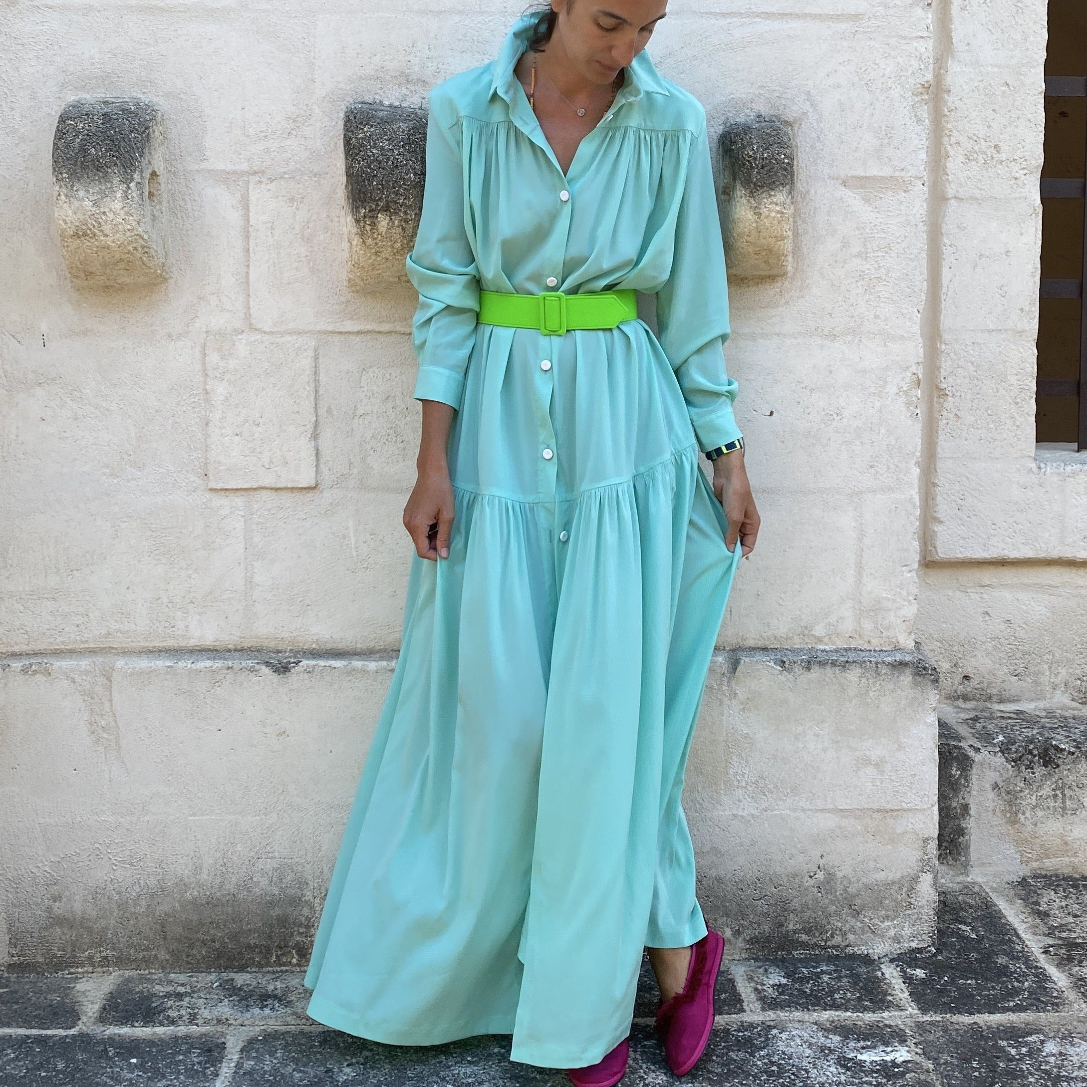 SILK CIRCO DRESS TURQUOISE