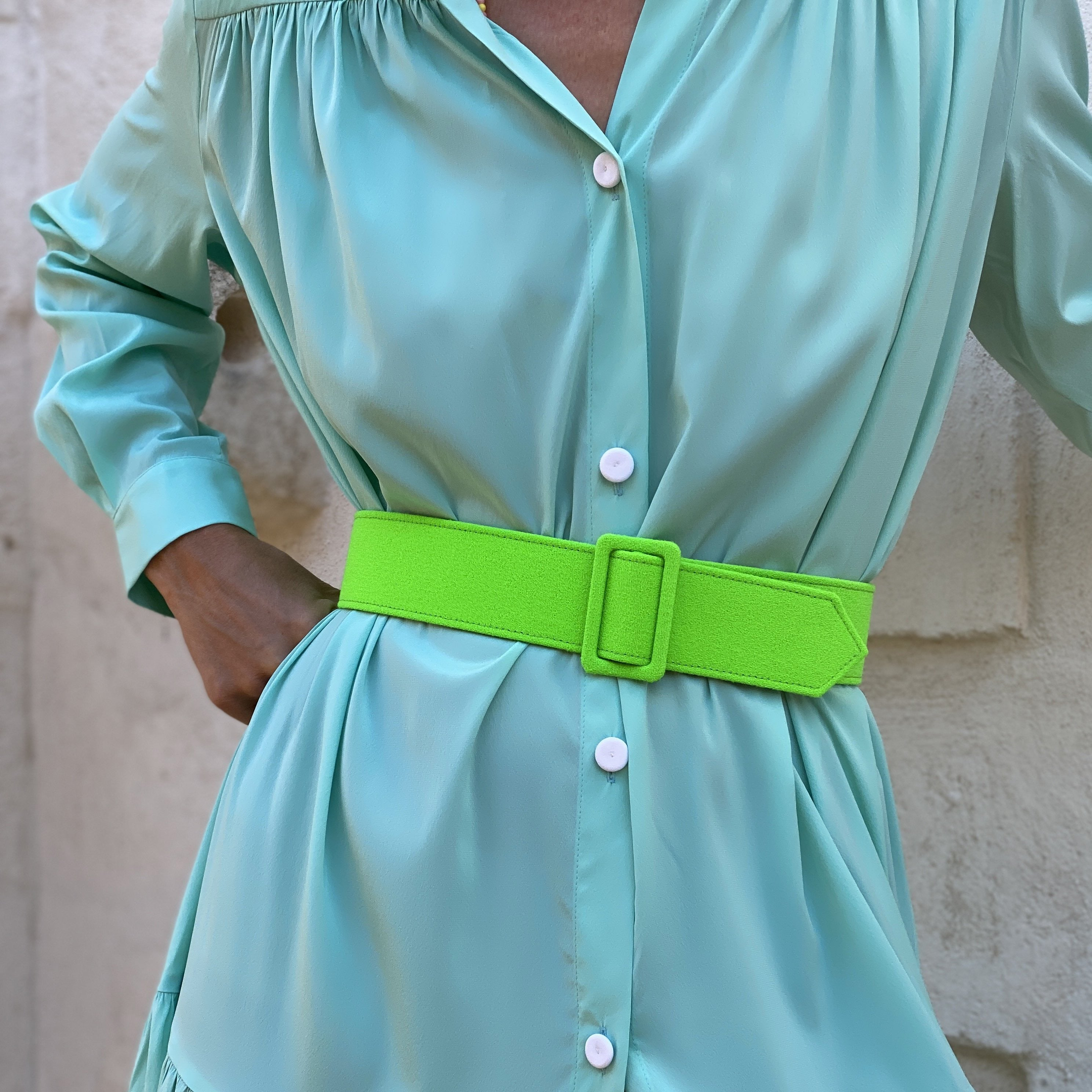 WOOL CREPE BELT FLUO GREEN