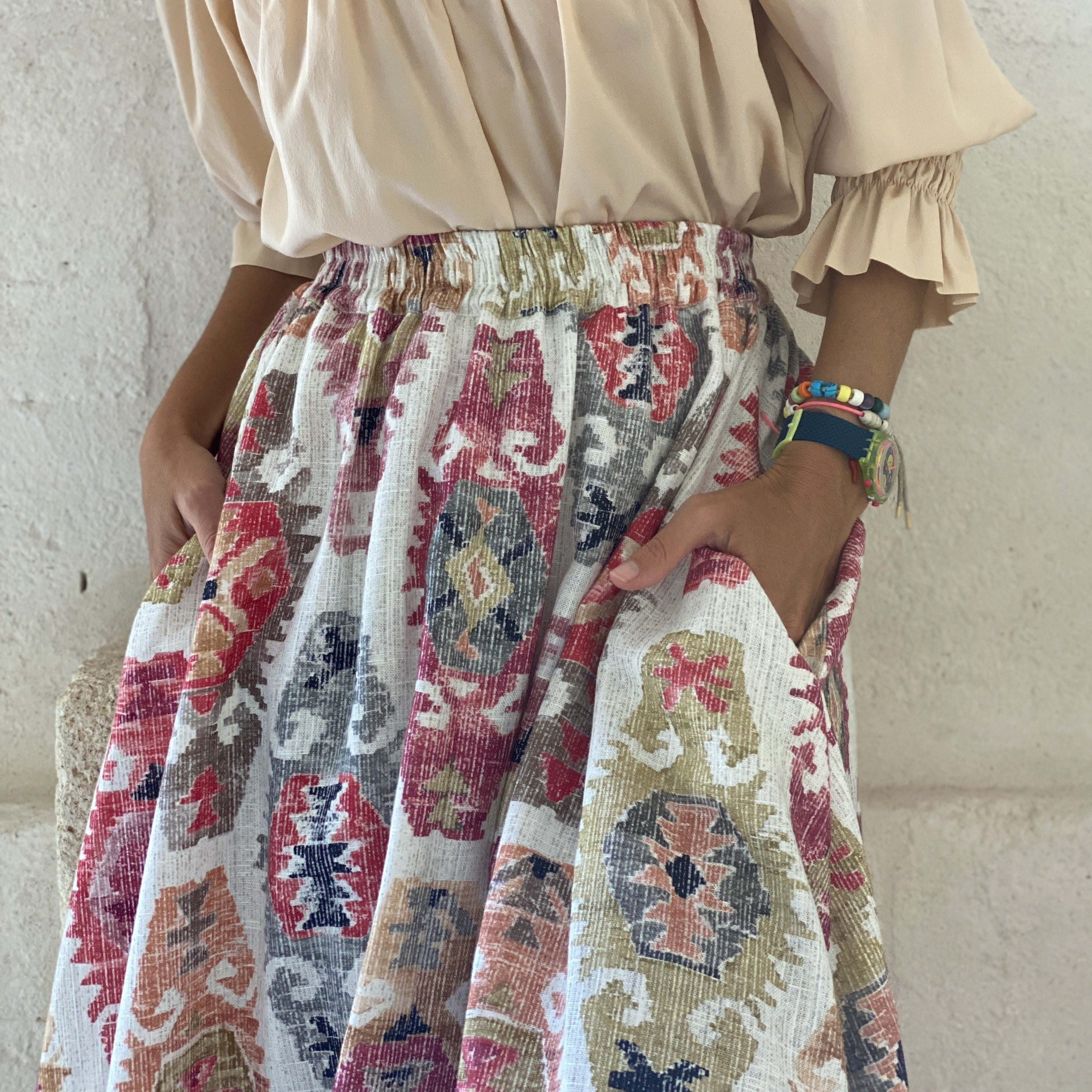 LINEN MORIGI SKIRT RED PRINT