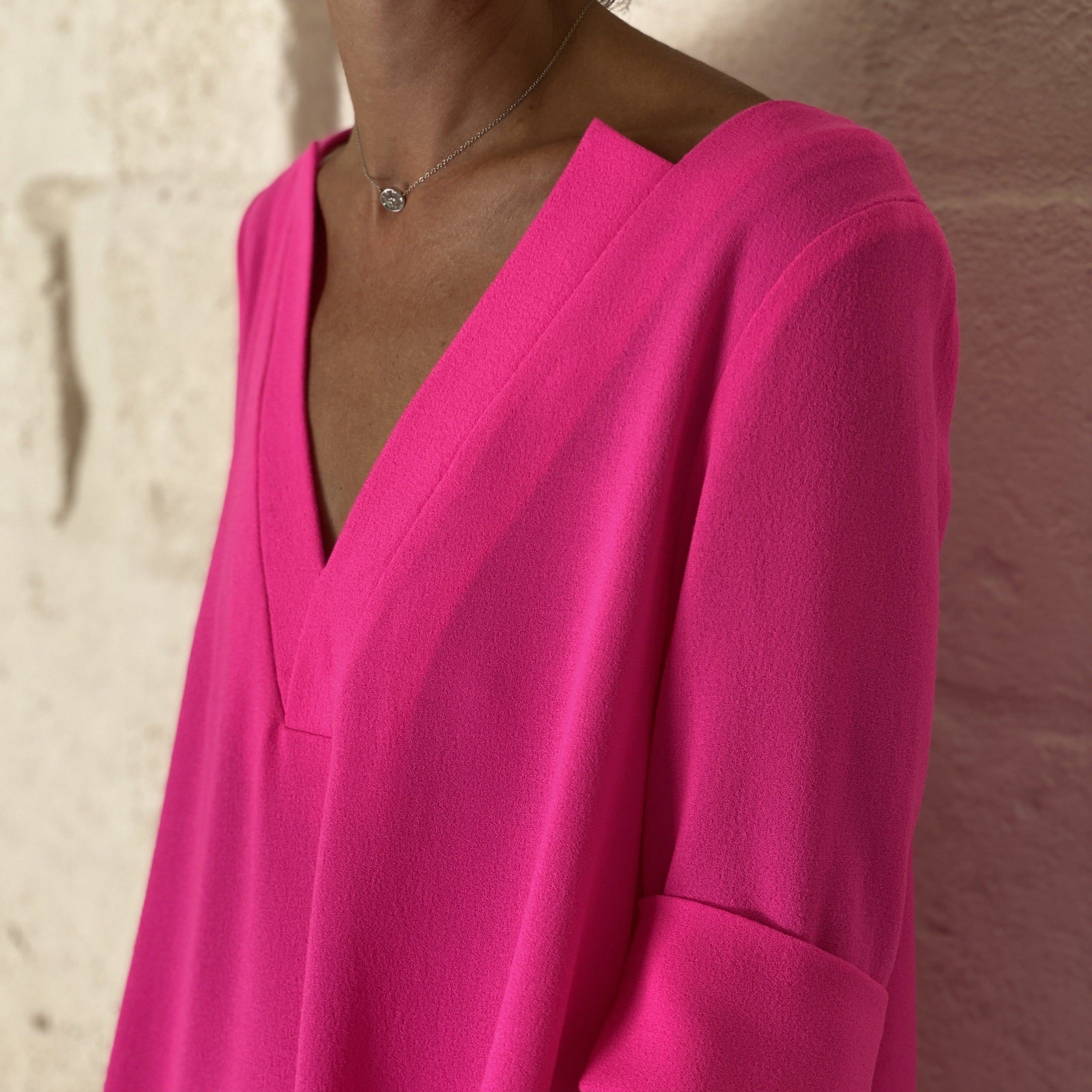WOOL CREPE MENTANA DRESS FLUO PINK