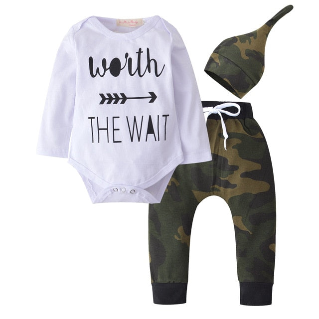 Cotton Clothes for Newborn Printed Long Sleeved T-shirt + pants + cap