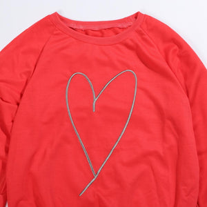 Family Style Clothes Long Sleeve Heart Print for Mom and son