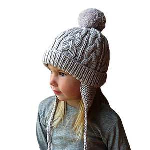 Winter Knitting Hat For Boys and Girls with Pom pom