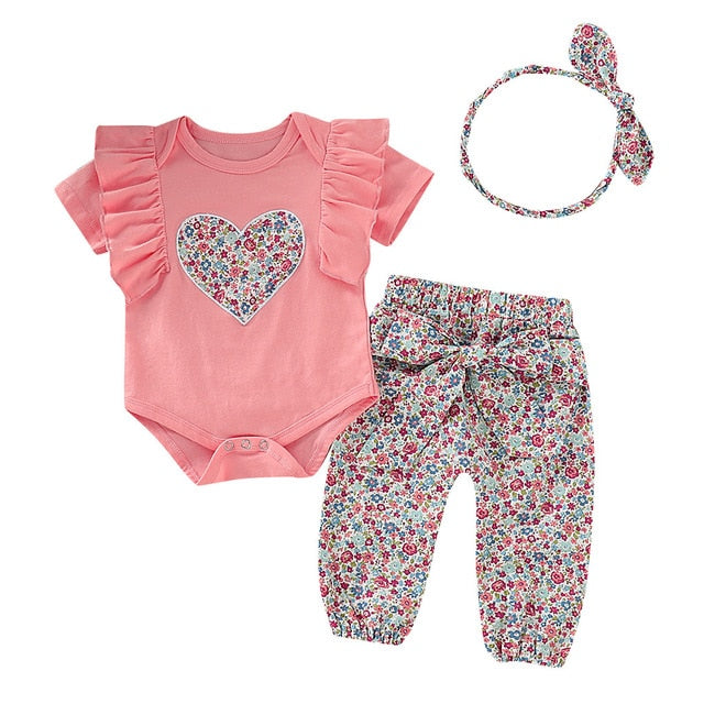 Floral Top Bow Pants  For newborn girls and Hair Band.