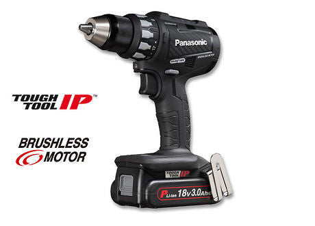 Panasonic 18V Drill i koffert med to 3,0 Ah batterier