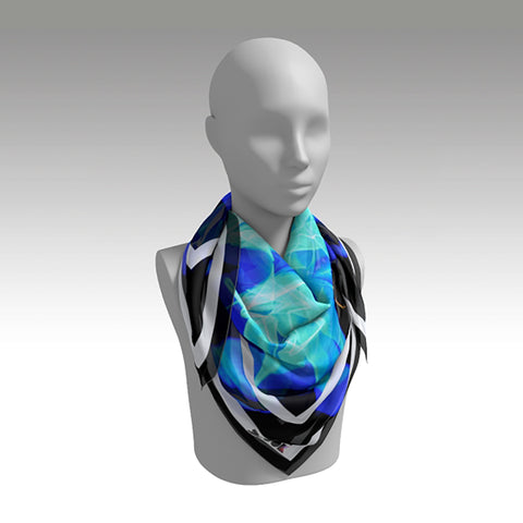 Silk Scarf Square 'Origami Lightning'