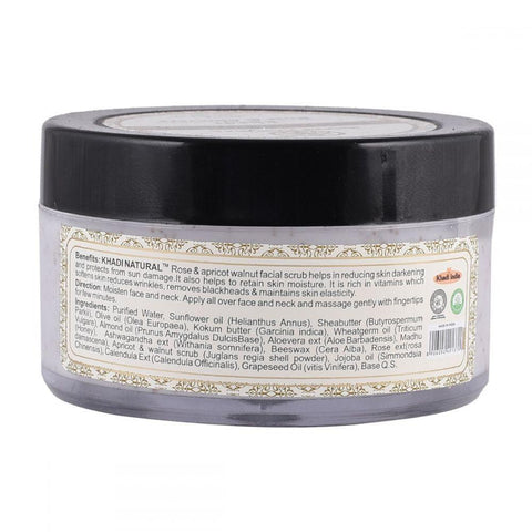 Khadi Natural Rose, Apricot & Walnut Exfoliating Facial Scrub (4637281648682)