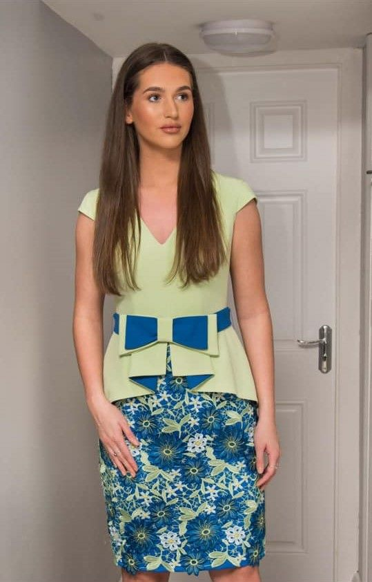 Moncho Heredia Two Piece In Apple Green & Royal Blue
